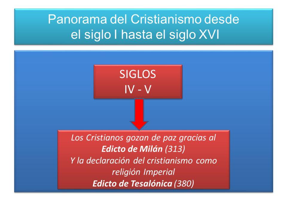 Panorama del Cristianismo desde el siglo I hasta el siglo XVI SIGLOS IV - V SIGLOS IV - V Los Cristianos gozan de paz gracias al Edicto de Milán (313)