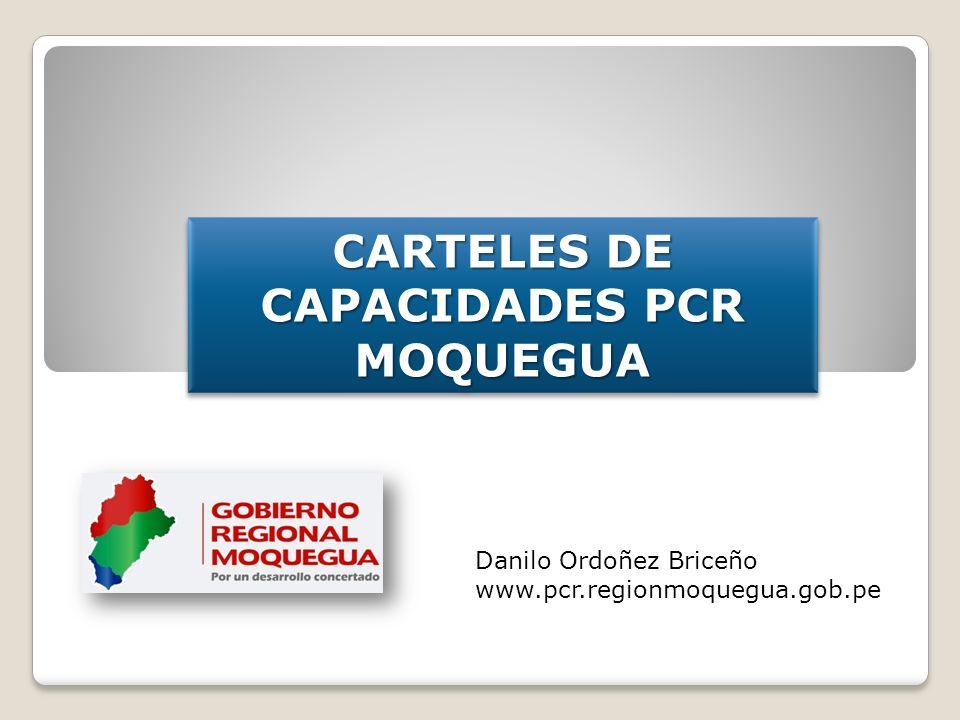 CARTELES DE CAPACIDADES PCR MOQUEGUA MOQUEGUA Danilo Ordoñez Briceño www.pcr.regionmoquegua.gob.pe