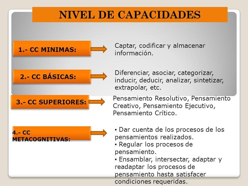 NIVEL DE CAPACIDADES 1.- CC MINIMAS: Captar, codificar y almacenar información. 2.- CC BÁSICAS: Diferenciar, asociar, categorizar, inducir, deducir, a