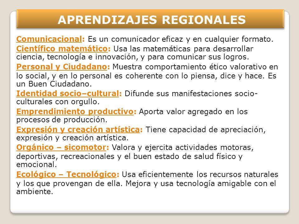 APRENDIZAJES REGIONALES Comunicacional: Es un comunicador eficaz y en cualquier formato. Científico matemático: Usa las matemáticas para desarrollar c