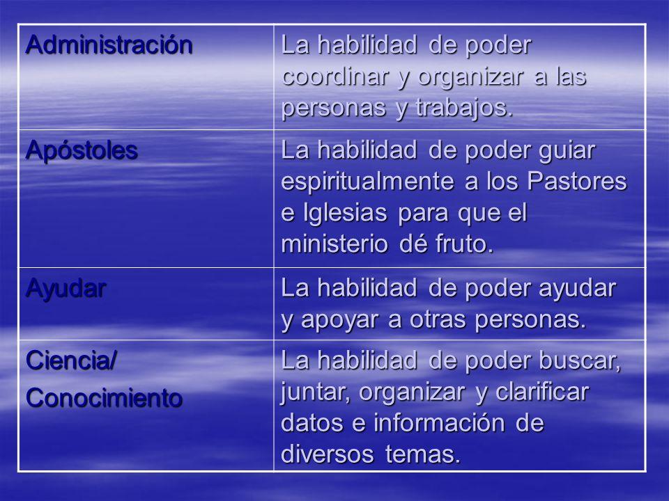 Administración La habilidad de poder coordinar y organizar a las personas y trabajos. Apóstoles La habilidad de poder guiar espiritualmente a los Past
