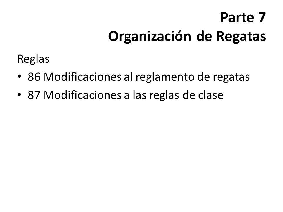 Parte 7 Organización de Regatas Reglas 86 Modificaciones al reglamento de regatas 87 Modificaciones a las reglas de clase