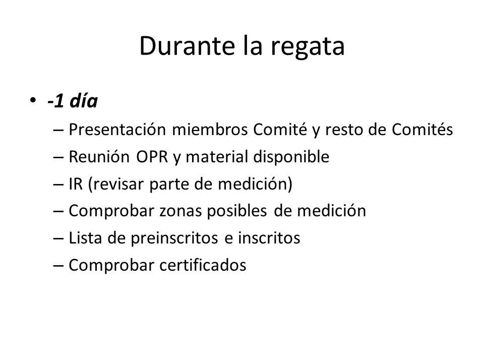 Durante la regata -1 día – Presentación miembros Comité y resto de Comités – Reunión OPR y material disponible – IR (revisar parte de medición) – Comp
