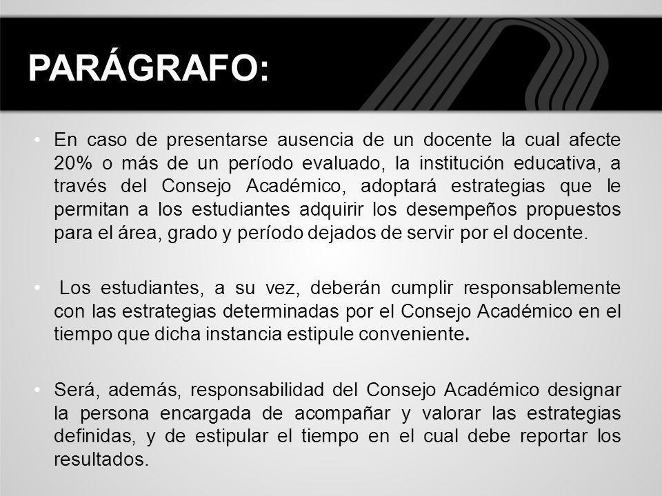 En caso de presentarse ausencia de un docente la cual afecte 20% o más de un período evaluado, la institución educativa, a través del Consejo Académic