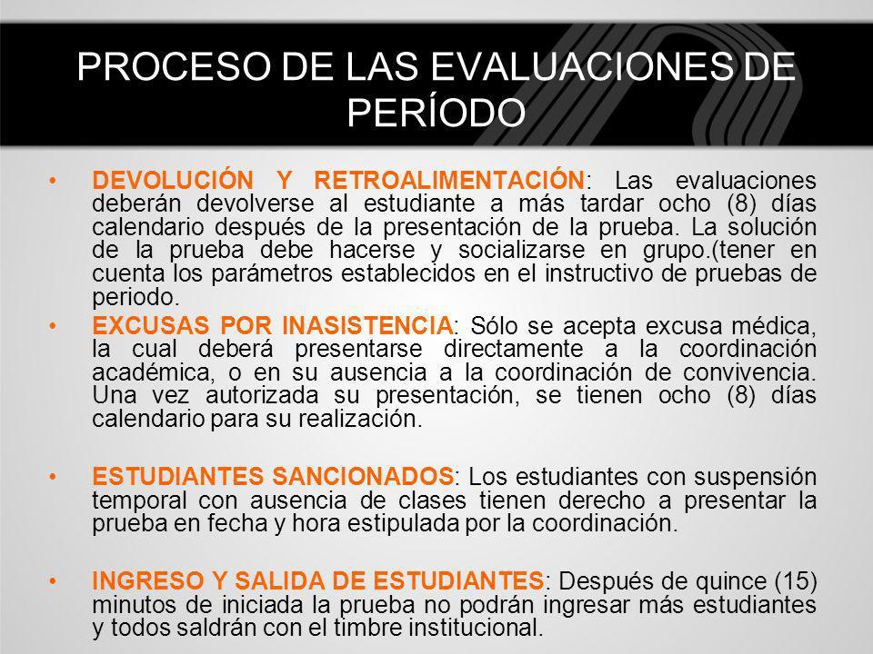DEVOLUCIÓN Y RETROALIMENTACIÓN: Las evaluaciones deberán devolverse al estudiante a más tardar ocho (8) días calendario después de la presentación de