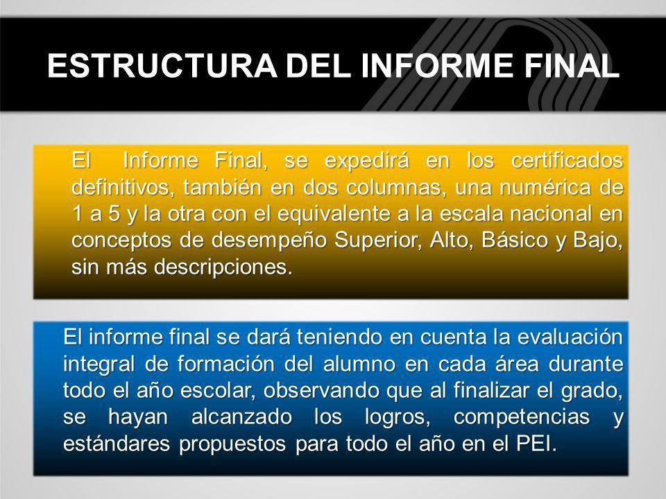 ESTRUCTURA DEL INFORME FINAL El informe final se dará teniendo en cuenta la evaluación integral de formación del alumno en cada área durante todo el a