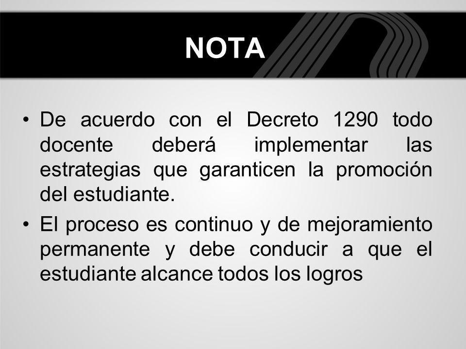 NOTA De acuerdo con el Decreto 1290 todo docente deberá implementar las estrategias que garanticen la promoción del estudiante. El proceso es continuo