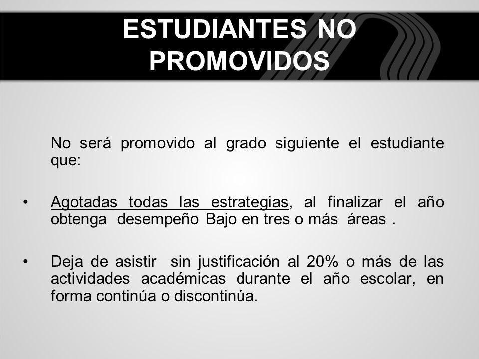 ESTUDIANTES NO PROMOVIDOS No será promovido al grado siguiente el estudiante que: Agotadas todas las estrategias, al finalizar el año obtenga desempeñ