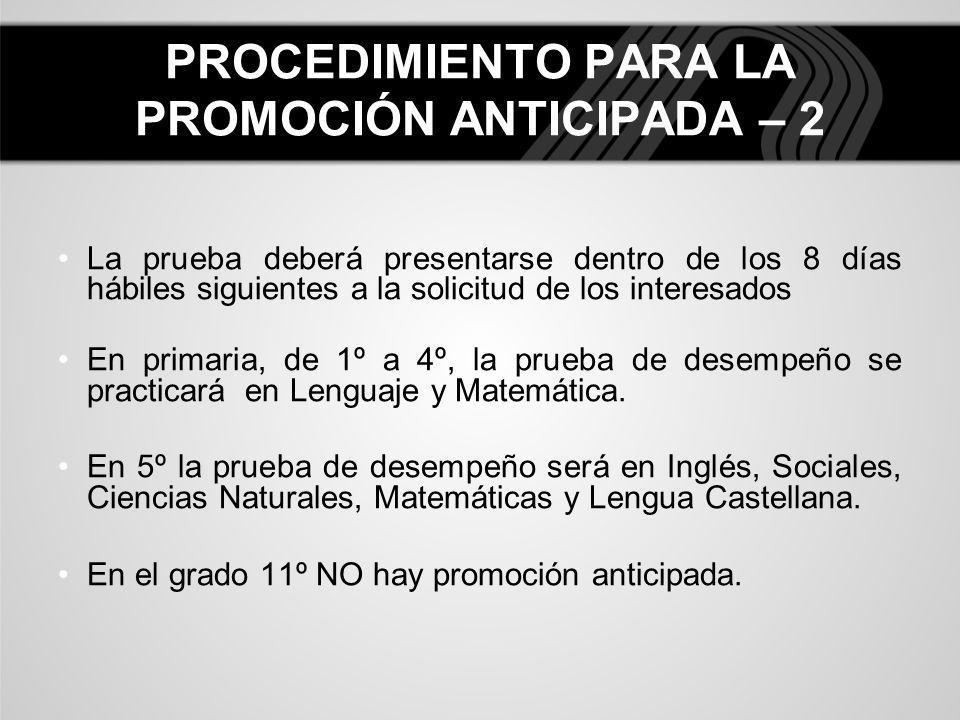 La prueba deberá presentarse dentro de los 8 días hábiles siguientes a la solicitud de los interesados En primaria, de 1º a 4º, la prueba de desempeño