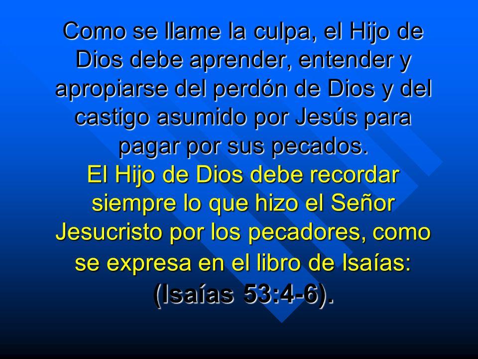 Como se llame la culpa, el Hijo de Dios debe aprender, entender y apropiarse del perdón de Dios y del castigo asumido por Jesús para pagar por sus pec