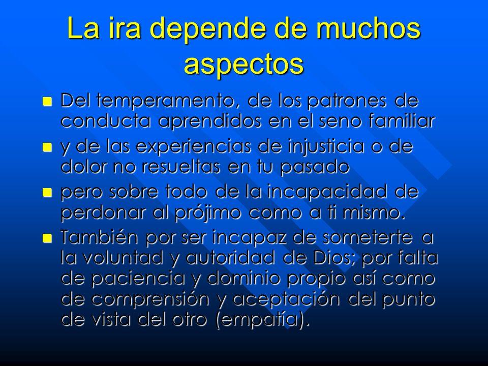 La ira depende de muchos aspectos Del temperamento, de los patrones de conducta aprendidos en el seno familiar Del temperamento, de los patrones de co