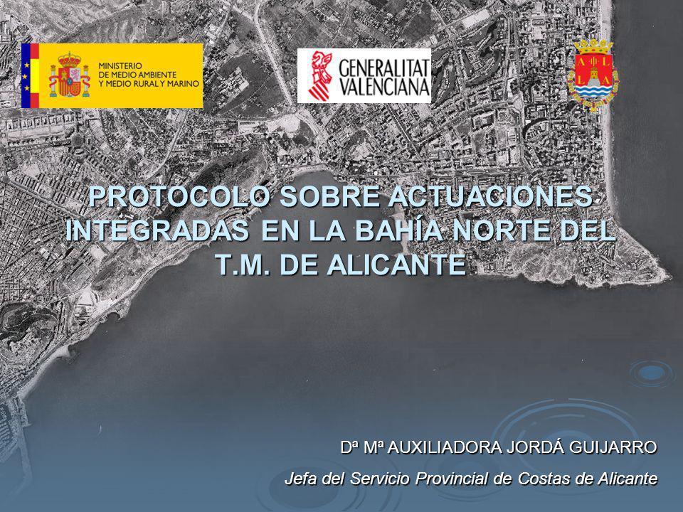 El ámbito del protocolo comprende la Bahía Norte del municipio de Alicante, constituida por los terrenos de dominio público marítimo-terrestre que se extienden desde el dique de Levante del Puerto de Alicante hasta el extremo sur del paseo marítimo de la playa de San Juan, pudiendo ampliarse a lo que resulte necesario para resolver la problemática existente en el citado ámbito.