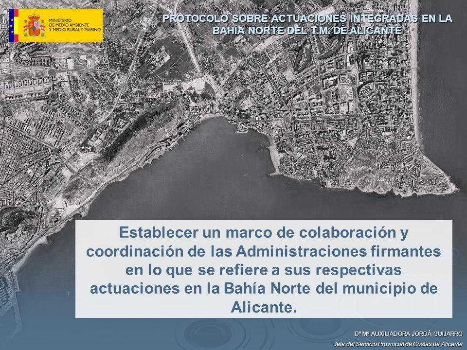 Establecer un marco de colaboración y coordinación de las Administraciones firmantes en lo que se refiere a sus respectivas actuaciones en la Bahía No