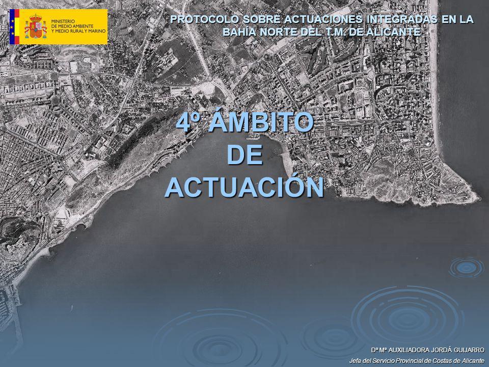 Dª Mª AUXILIADORA JORDÁ GUIJARRO Jefa del Servicio Provincial de Costas de Alicante 4º ÁMBITO DE ACTUACIÓN PROTOCOLO SOBRE ACTUACIONES INTEGRADAS EN L