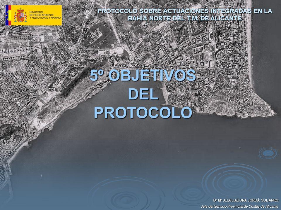 Dª Mª AUXILIADORA JORDÁ GUIJARRO Jefa del Servicio Provincial de Costas de Alicante 5º OBJETIVOS DEL PROTOCOLO PROTOCOLO SOBRE ACTUACIONES INTEGRADAS