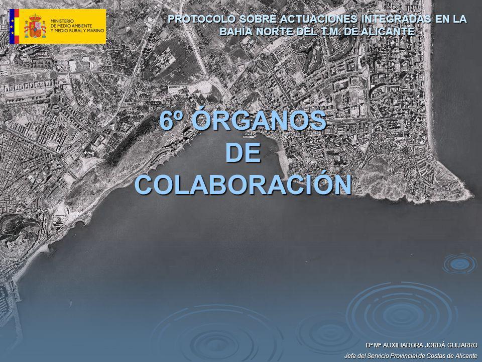 Dª Mª AUXILIADORA JORDÁ GUIJARRO Jefa del Servicio Provincial de Costas de Alicante 6º ÓRGANOS DE COLABORACIÓN PROTOCOLO SOBRE ACTUACIONES INTEGRADAS
