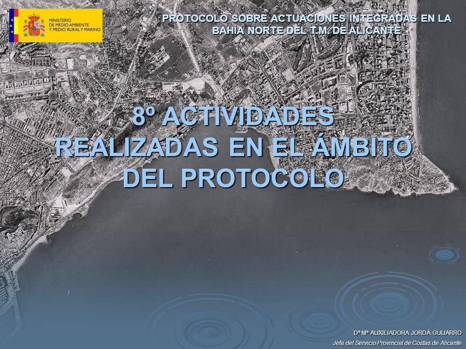 Dª Mª AUXILIADORA JORDÁ GUIJARRO Jefa del Servicio Provincial de Costas de Alicante 8º ACTIVIDADES REALIZADAS EN EL ÁMBITO DEL PROTOCOLO PROTOCOLO SOB