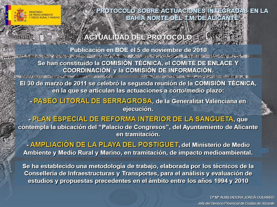 ACTUALIDAD DEL PROTOCOLO Dª Mª AUXILIADORA JORDÁ GUIJARRO Jefa del Servicio Provincial de Costas de Alicante Se han constituido la COMISIÓN TÉCNICA, e