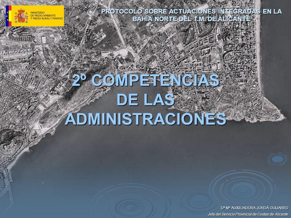 2º COMPETENCIAS DE LAS ADMINISTRACIONES Dª Mª AUXILIADORA JORDÁ GUIJARRO Jefa del Servicio Provincial de Costas de Alicante PROTOCOLO SOBRE ACTUACIONE