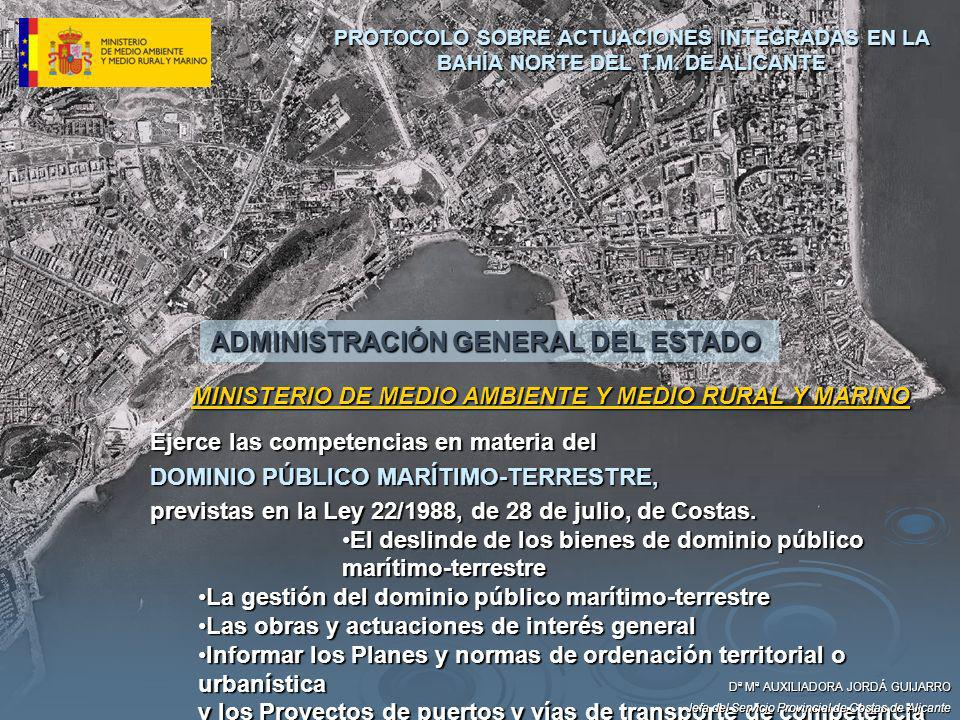 Dª Mª AUXILIADORA JORDÁ GUIJARRO Jefa del Servicio Provincial de Costas de Alicante 6º ÓRGANOS DE COLABORACIÓN PROTOCOLO SOBRE ACTUACIONES INTEGRADAS EN LA BAHÍA NORTE DEL T.M.