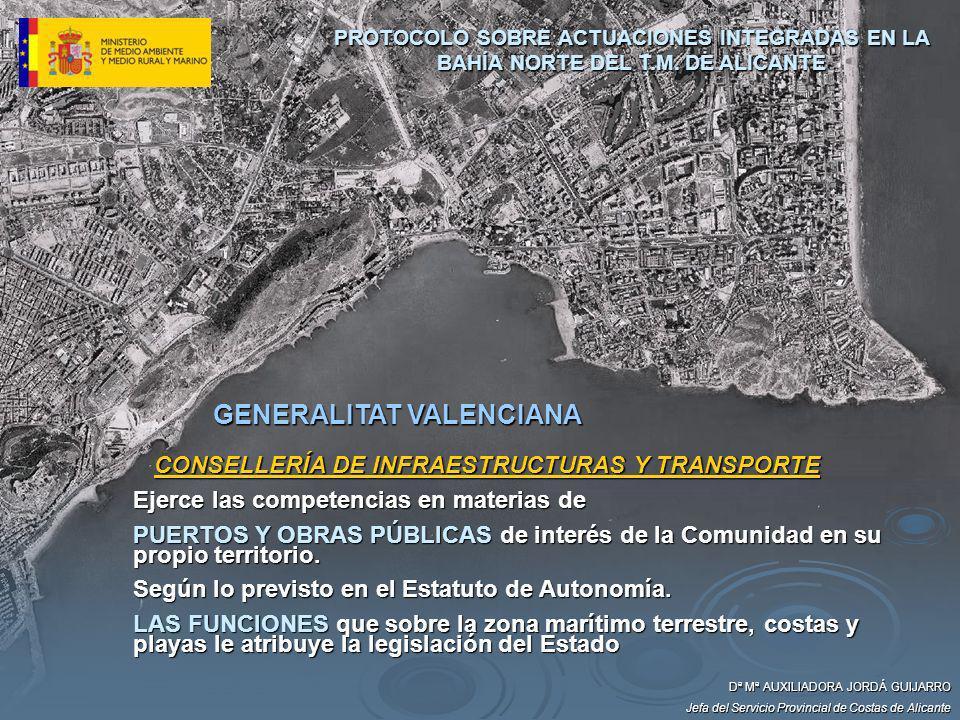 GENERALITAT VALENCIANA CONSELLERÍA DE INFRAESTRUCTURAS Y TRANSPORTE Ejerce las competencias en materias de PUERTOS Y OBRAS PÚBLICAS de interés de la C