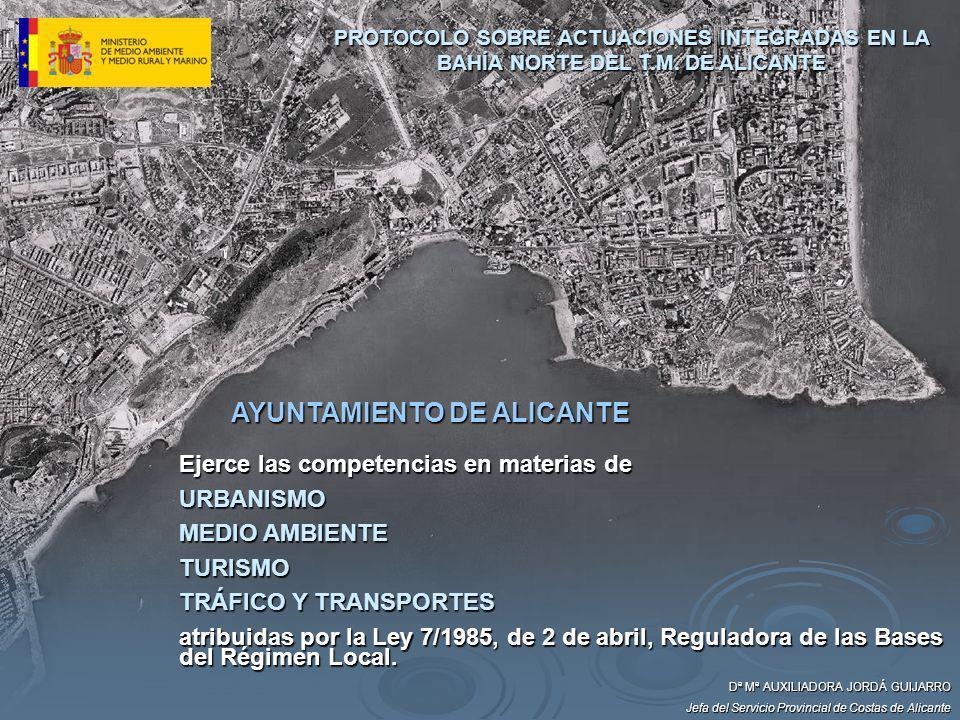 AYUNTAMIENTO DE ALICANTE Ejerce las competencias en materias de URBANISMO MEDIO AMBIENTE TURISMO TRÁFICO Y TRANSPORTES atribuidas por la Ley 7/1985, d