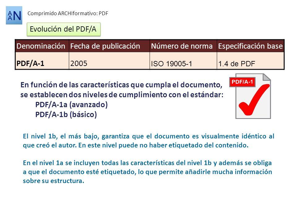 Comprimido ARCHIformativo: PDF En función de las características que cumpla el documento, se establecen dos niveles de cumplimiento con el estándar: P