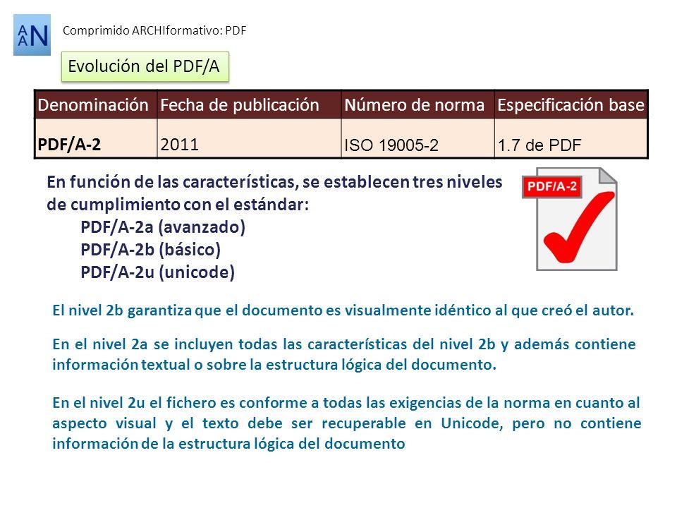 Comprimido ARCHIformativo: PDF El nivel 2b garantiza que el documento es visualmente idéntico al que creó el autor. En el nivel 2a se incluyen todas l