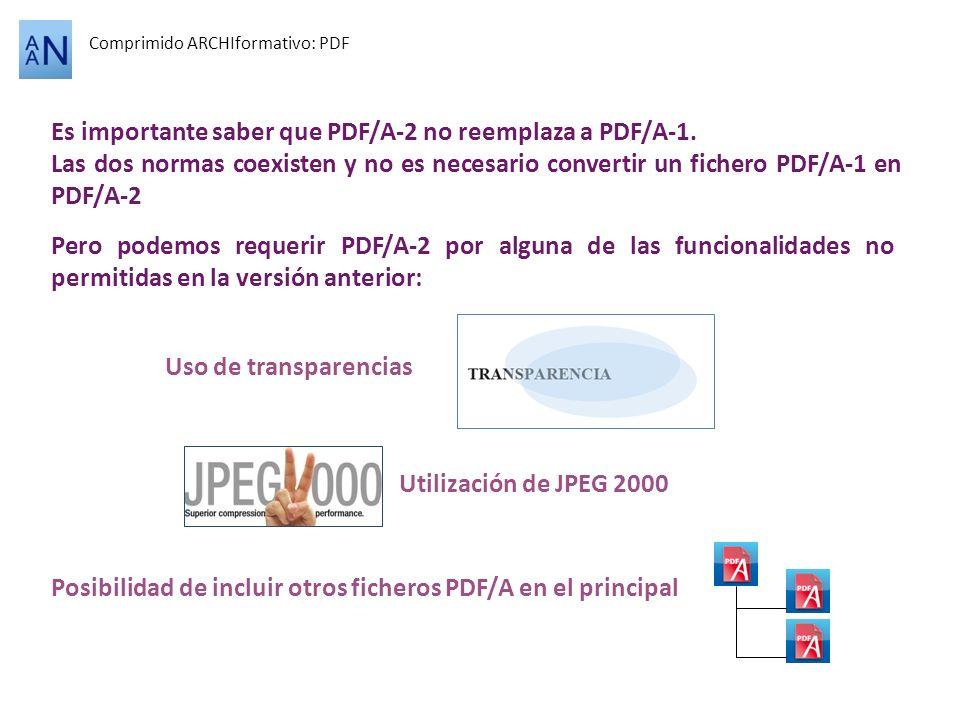 Comprimido ARCHIformativo: PDF Es importante saber que PDF/A-2 no reemplaza a PDF/A-1. Las dos normas coexisten y no es necesario convertir un fichero