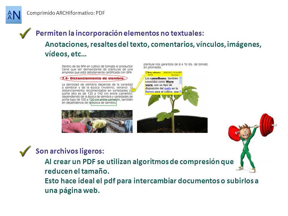 Comprimido ARCHIformativo: PDF Permiten la incorporación elementos no textuales: Anotaciones, resaltes del texto, comentarios, vínculos, imágenes, víd
