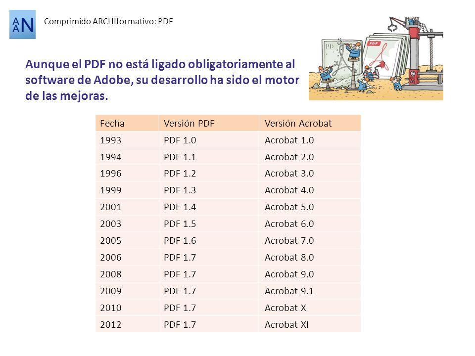 Comprimido ARCHIformativo: PDF Aunque el PDF no está ligado obligatoriamente al software de Adobe, su desarrollo ha sido el motor de las mejoras. Fech