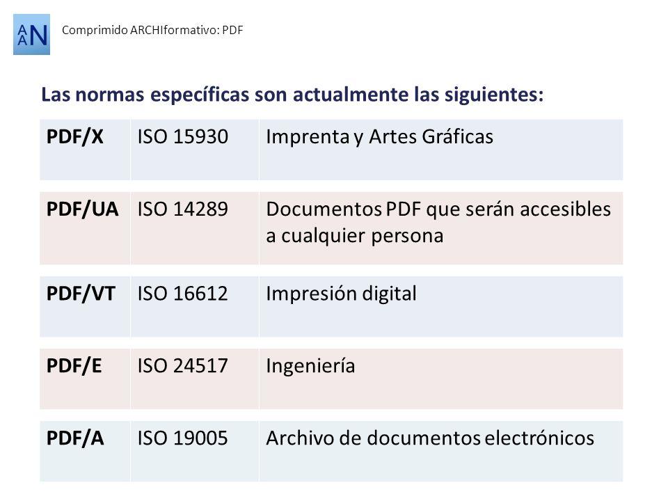 Las normas específicas son actualmente las siguientes: Comprimido ARCHIformativo: PDF PDF/XISO 15930Imprenta y Artes Gráficas PDF/AISO 19005Archivo de