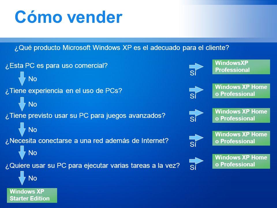 Cómo vender ¿Qué producto Microsoft Windows XP es el adecuado para el cliente? ¿Esta PC es para uso comercial? ¿Tiene experiencia en el uso de PCs? ¿T