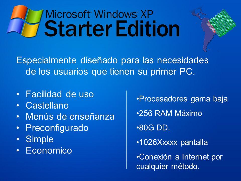 Especialmente diseñado para las necesidades de los usuarios que tienen su primer PC. Facilidad de uso Castellano Menús de enseñanza Preconfigurado Sim
