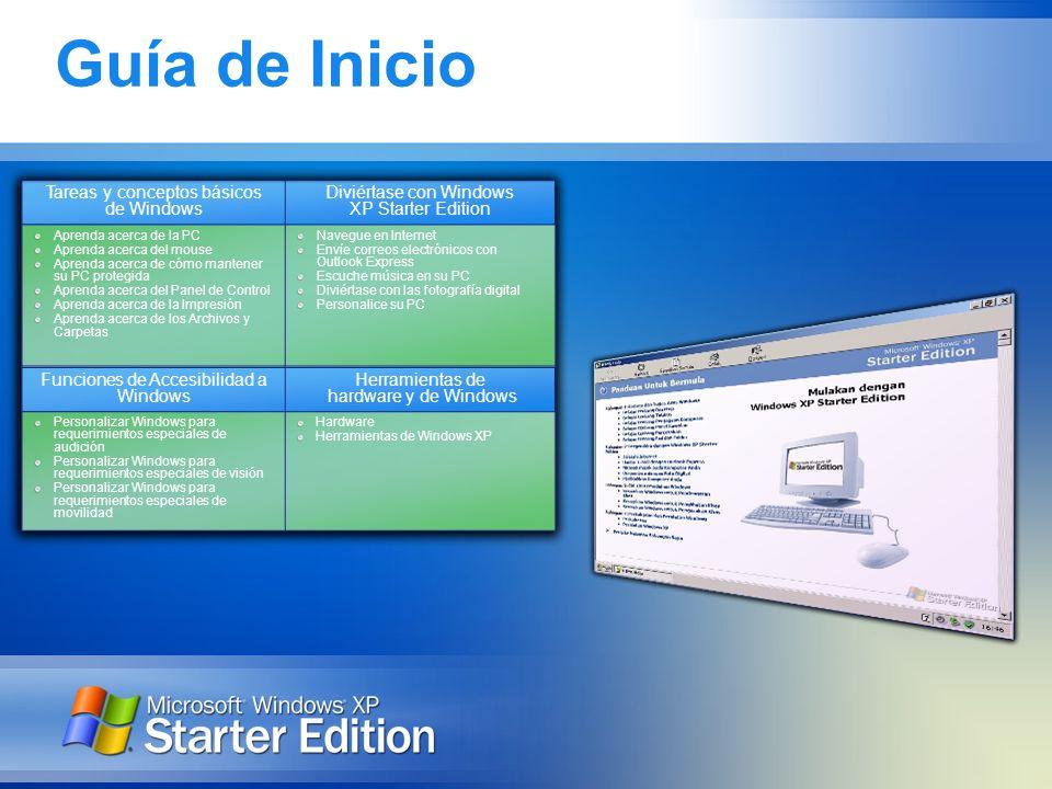 Guía de Inicio Tareas y conceptos básicos de Windows Diviértase con Windows XP Starter Edition Aprenda acerca de la PC Aprenda acerca del mouse Aprend