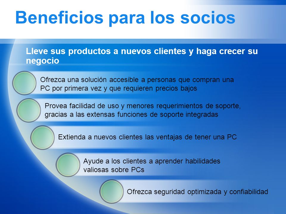 Beneficios para los socios Lleve sus productos a nuevos clientes y haga crecer su negocio Ofrezca una solución accesible a personas que compran una PC