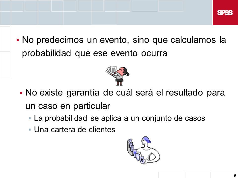 9 No predecimos un evento, sino que calculamos la probabilidad que ese evento ocurra No existe garantía de cuál será el resultado para un caso en particular La probabilidad se aplica a un conjunto de casos Una cartera de clientes