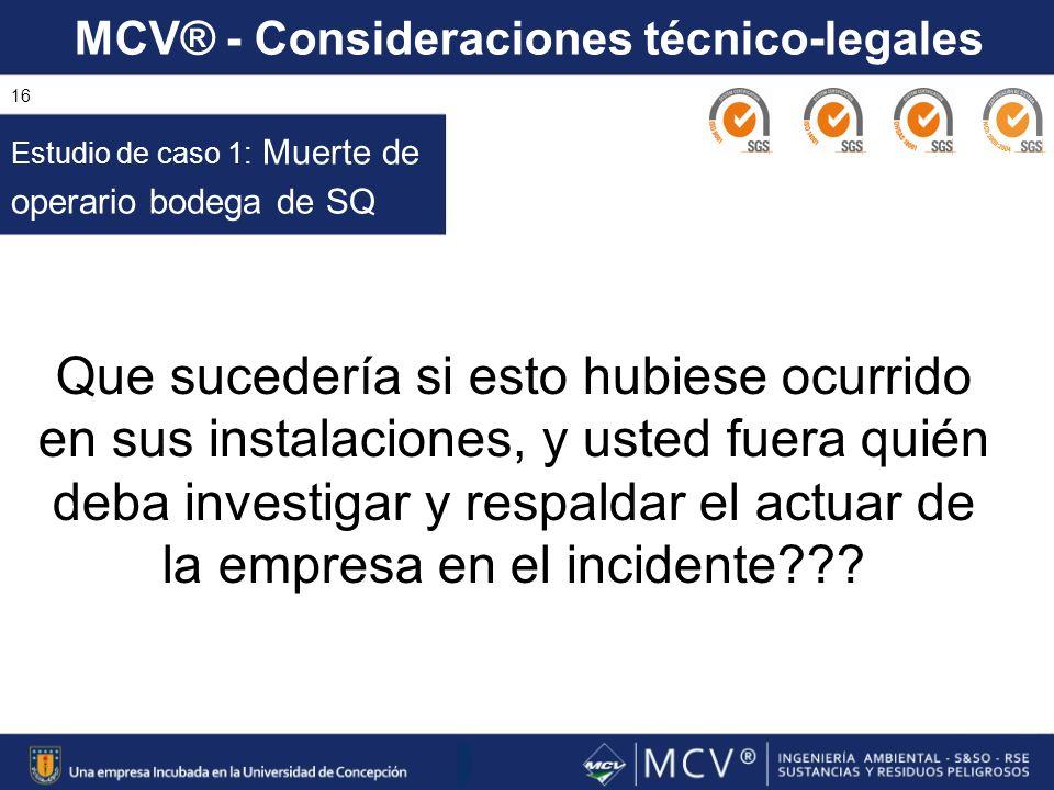 MCV® - Consideraciones técnico-legales 16 Estudio de caso 1: Muerte de operario bodega de SQ Que sucedería si esto hubiese ocurrido en sus instalacion