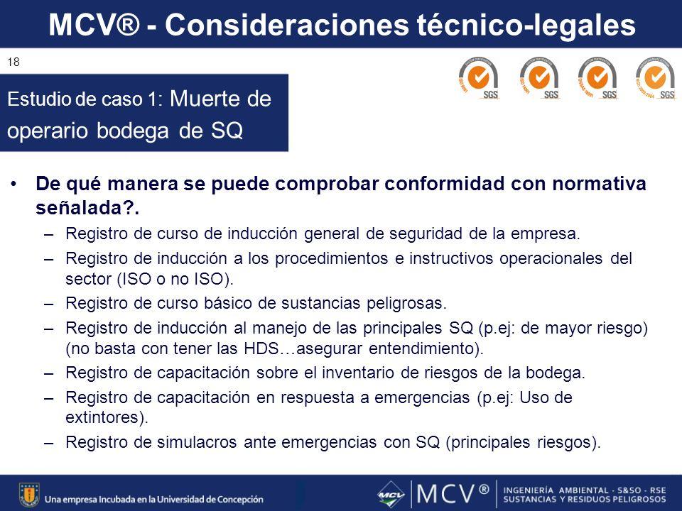 MCV® - Consideraciones técnico-legales 18 De qué manera se puede comprobar conformidad con normativa señalada?. –Registro de curso de inducción genera