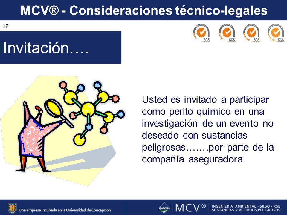 MCV® - Consideraciones técnico-legales 19 Usted es invitado a participar como perito químico en una investigación de un evento no deseado con sustanci