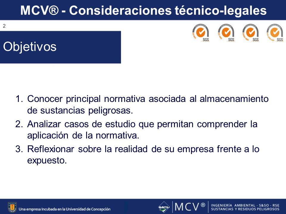 MCV® - Consideraciones técnico-legales 2 1.Conocer principal normativa asociada al almacenamiento de sustancias peligrosas. 2.Analizar casos de estudi