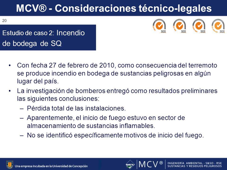 MCV® - Consideraciones técnico-legales 20 Con fecha 27 de febrero de 2010, como consecuencia del terremoto se produce incendio en bodega de sustancias