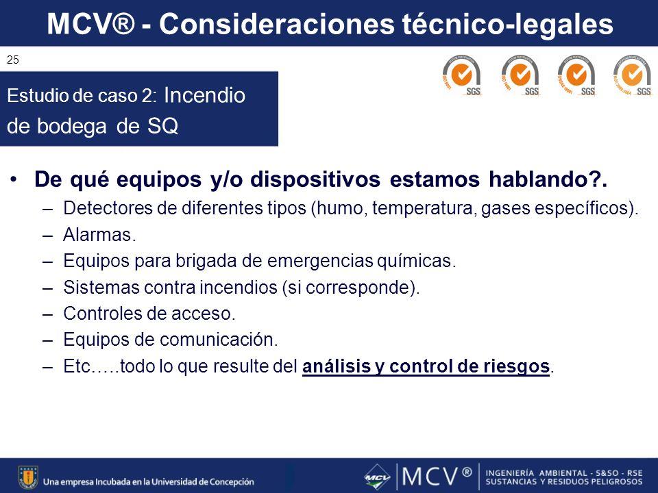 MCV® - Consideraciones técnico-legales 25 De qué equipos y/o dispositivos estamos hablando?. –Detectores de diferentes tipos (humo, temperatura, gases