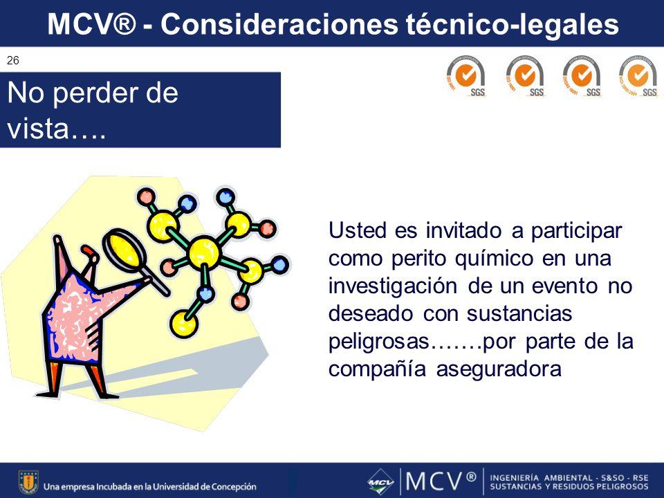 MCV® - Consideraciones técnico-legales 26 Usted es invitado a participar como perito químico en una investigación de un evento no deseado con sustanci