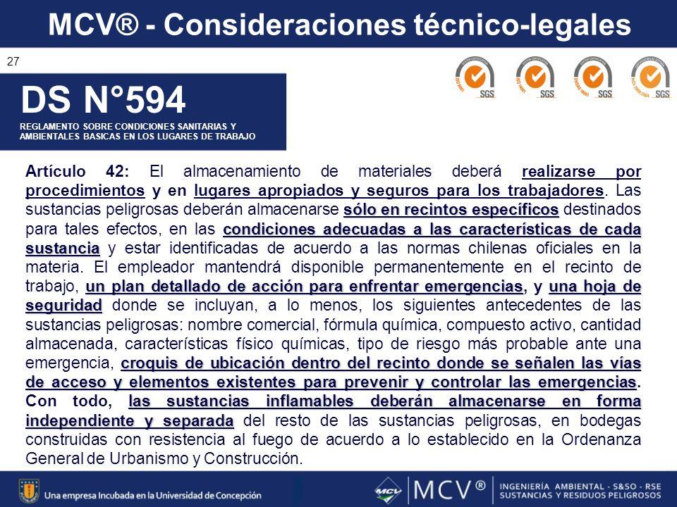 MCV® - Consideraciones técnico-legales 27 DS N°594 REGLAMENTO SOBRE CONDICIONES SANITARIAS Y AMBIENTALES BASICAS EN LOS LUGARES DE TRABAJO sólo en rec