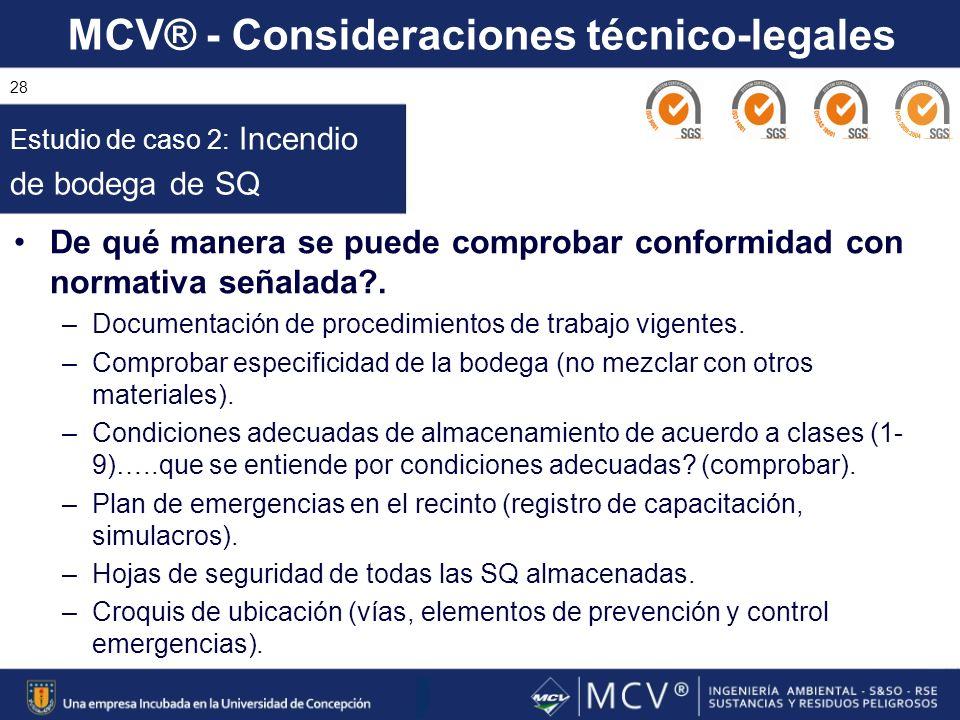 MCV® - Consideraciones técnico-legales 28 De qué manera se puede comprobar conformidad con normativa señalada?. –Documentación de procedimientos de tr