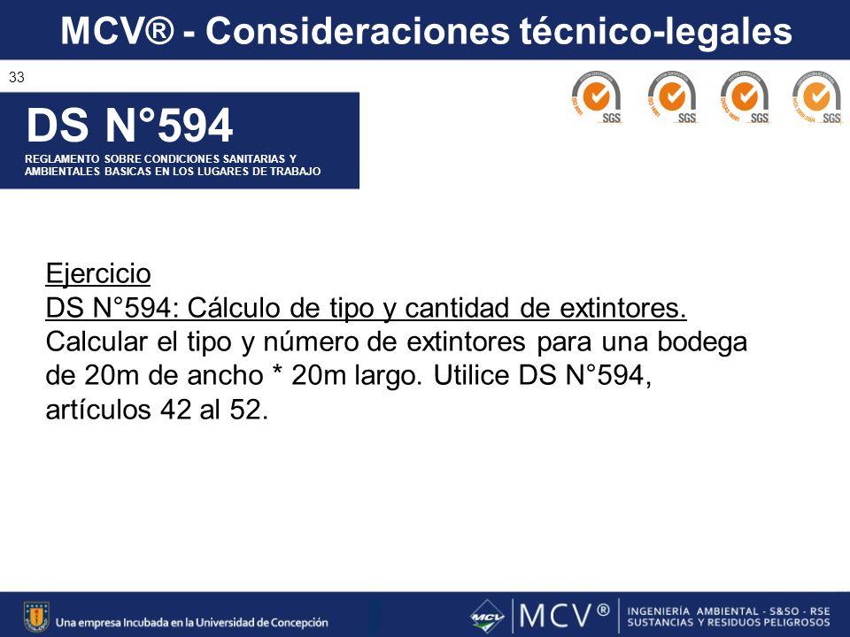 MCV® - Consideraciones técnico-legales 33 DS N°594 REGLAMENTO SOBRE CONDICIONES SANITARIAS Y AMBIENTALES BASICAS EN LOS LUGARES DE TRABAJO Ejercicio D