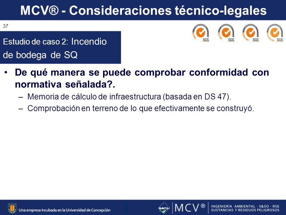 MCV® - Consideraciones técnico-legales 37 De qué manera se puede comprobar conformidad con normativa señalada?. –Memoria de cálculo de infraestructura