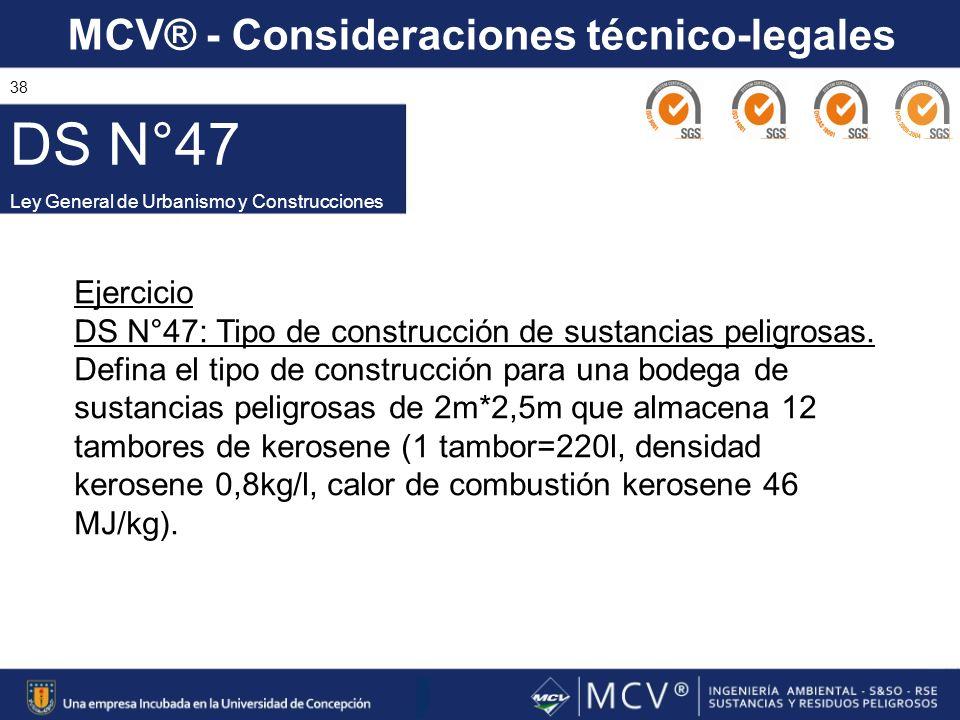 MCV® - Consideraciones técnico-legales 38 DS N°47 Ley General de Urbanismo y Construcciones Ejercicio DS N°47: Tipo de construcción de sustancias peli