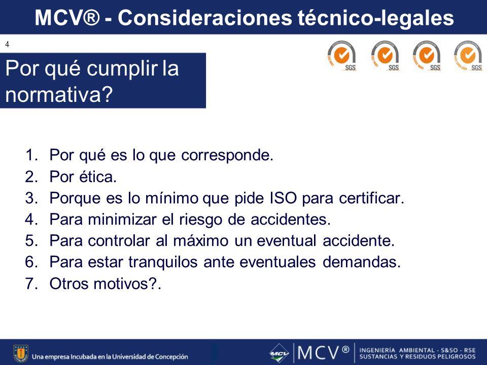MCV® - Consideraciones técnico-legales 4 1.Por qué es lo que corresponde. 2.Por ética. 3.Porque es lo mínimo que pide ISO para certificar. 4.Para mini